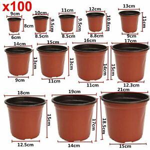 100pcs Plastic Terracotta Garden Nursery Seedlings Flower Plant Planter Pots