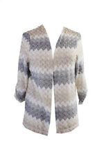 Alfred Dunner Beige Multi 3/4-Sleeve Striped Open-Front Cardigan S