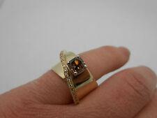 Designer Signed Large Chocolate & White Diamond 14K Solid Gold Ring Size 7.5
