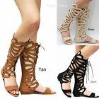 New Women FC11 Tan Beige Black Butterfly Cutout Gladiator Knee High Sandals