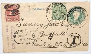 India QV stationary from Rawalpindi city to Buffalo USA uprated with 3 cents due