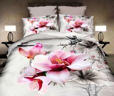 4 tlg. Bettwäsche Bettbezug Bettgarnitur 155 x 200 cm Blume Rose grau-pink weiß