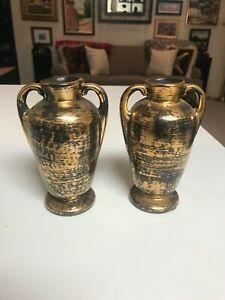 """SET OF 2 VINTAGE 6"""" Stangl Pottery BLACK GOLD HANDLED VASES URNS  EXCELLENT!!"""
