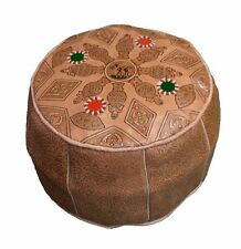 Ottoman Footstool Poof Moroccan Hand Made Leather Poufs Hassock Medium Natural
