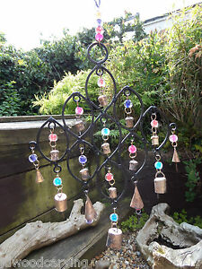Fair Trade Hand Made Indian Recycled Metal Bells Beads Garden Wind Chime Mobile