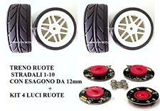 TRENO RUOTE STRADALE 1-10 ESAGONO da 12 mm COMPLETE DI KIT LUCI RUOTE VRX 10417