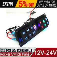 Universal Auto ATV Marine Boat 6 Gang Circuit Breakers LED Rocker Switch Panel