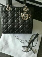 //Christian-Dior-Lady Dior Black Leather 2way Hand Bag Shoulder Strap
