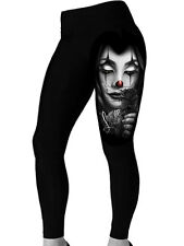 DGA David Gonzales Art Payasa Women's Leggings Tattoo Clown Face Rose Flower