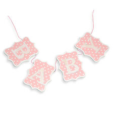 60cm Girls Pink & White Dot Wooden Baby Bunting Banner Design Decoration