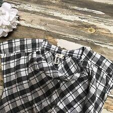 Womens Top Plaid Linen Black White L'OGAN for Target Drape Woven Small Shirt S