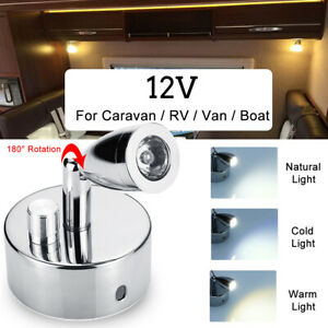 12V LED Spot Reading Light Dimmer Touch Wall Lamp Van Camper Trailer RV Caravan