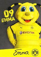 Emma (Maskottchen) + Borussia Dortmund + Saison 2015/2016 + Autogrammkarte +