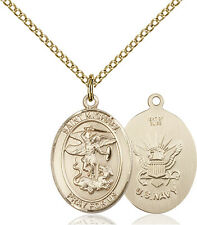 14K Gold Filled St Michael Navy Military Soldier Catholic Medal Necklace