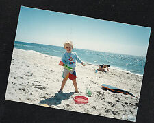 Vintage Photograph Adorable Little Boy Playing With Toys on the Beach