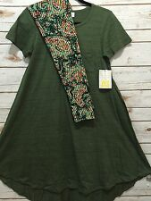 NWT LuLaRoe XXS Carly Heathered Green & OS Floral Paisley Leggings Outfit 2XS