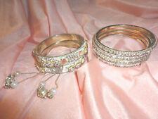 Six Bangle Bracelets from India, Wedding, White With Rhinestones