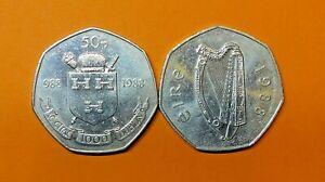 IRELAND :  DUBLIN MILLENNIUM  FIFTY PENCE  988 - 1988. FREE SHIPPING