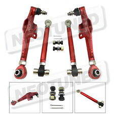 Red For 95-98 240SX S14 S15 4pc Front Lower Control Arm High Angle Tension Rod