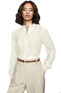 Reiss Ladies Designer Grandad Collar Long Sleeve Shirt Blouse RRP £135 Size 4-14