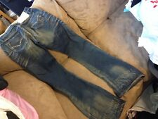 VIRGIN ONLY CRYSTAL POCKET ORIGINAL FADED DESIGN SUPER HIPPIE JEANS S W30x32
