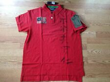 Polo Ralph Lauren red rugby USA american flag Asian Chinese Japanese shirt S