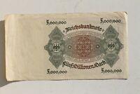 33083 Reich Allemand Billet Infla 5 Millions Mark 1. 6. 1923 Paper Money