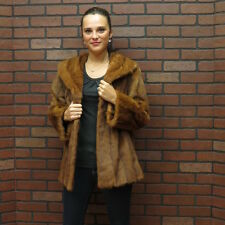 SALE!!! RETRO FAB! clean pristine RED WHISKEY CHINA MINK FUR COAT JACKET! 12/14