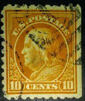 #472 1916-17 10c Orange Yellow Franklin US Postage Stamp