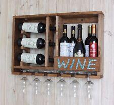 Rustic Wine Rack Handmade Wall Mounted Wooden Wine Storage Kitchen Shelf Brown