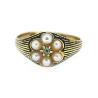 Victorian Pearl and Green Diamond Ring In 18ct Yellow Gold