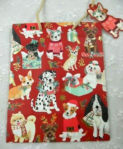 CLEMENTINE ALL KINDS OF DOGS CHRISTMAS GIFT BAG & TAG 9.5 x 7.75 x 3.75 MORE!