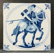 Vintage Dutch Tile with Knight on Horseback