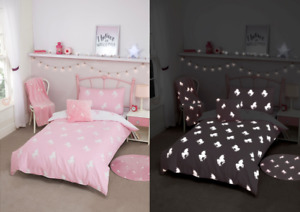 Unicorn Pink Single Glow In The Dark  Duvet Set Cover
