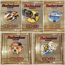 Rare Vintage Budweiser Salutes Military Mirror Set Army Marines Navy Air Force C