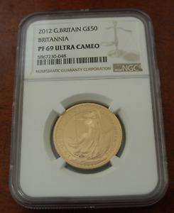 Great Britain 2012 Gold 1/2 oz 50 Pounds NGC PF69UC Britannia