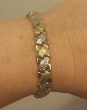 """7"""" 10K White & Yellow Gold Diamond-Cut & Matte """"X"""" STAMPATO Bracelet, 8.9 Grams"""