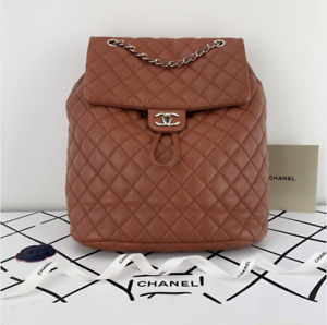 CHANEL Quilted Lambskin Urban Large Backpack in Red
