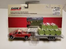 1/64 ERTL CASE IH DODGE RAM PICKUP WITH TRAILER AND BALES