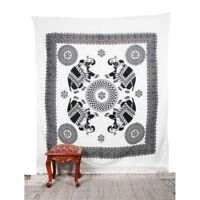 Elephant Print Tapestry Queen Mandala White And Black Print Wall Hanging  DM-99