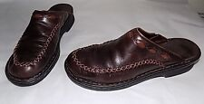 CLARKS Mule Clogs Size 8 M Brown Leather Upper  Slip On  Open Heel Comfy Shoes