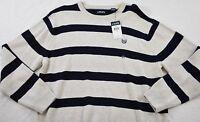 men's Chaps sweater size XXL ivory navy stripe crew neck cotton pullover new!