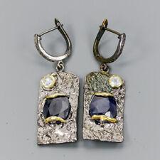 Handmade Natural Blue Sapphire 925 Sterling Silver Earrings /E36167