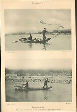 07 BOURG-SAINT-ANDEOL PECHE A L' EPERVIER DANS LE RHONE IMAGE 1900 OLD PRINT