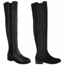 LADIES WOMENS OVER THE KNEE THIGH HIGH PULL ON STRETCH STUDDED FLAT BOOTS SIZE
