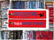 Keyring SKYDIVING *Ready to Drop Out of the Sky* Remove Before Flight style tag