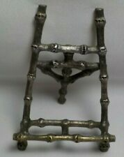 Vintage Ornate Bamboo Silver Plated Picture Photo Art Easel Holder Stand Folding