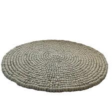 Round Rug 100% Wool Ball Felt Pom Pom Grey Beige Natural Circle Felted 120cm 4ft