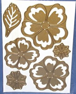 Anna Griffin 3D Dies Large Flower & Small Flowers w/Leaf 6pcs New Free Shipping