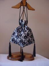 STEAMPINK VICTORIAN REGENCY BLACK IVORY RETICULE EDWARDIAN SATIN & LACE SASS